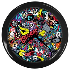 Bike Jumble Wall Clocks (black) by AnjaniArt
