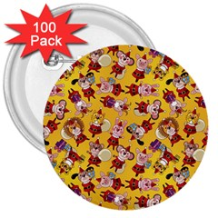 Bears Bunnies Goats Tigers Lions Pigs Gifts Texture Fun 3  Buttons (100 Pack)