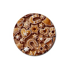 Christmas Cookies Bread Rubber Coaster (round)