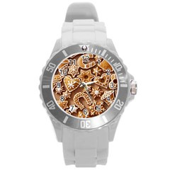 Christmas Cookies Bread Round Plastic Sport Watch (l)