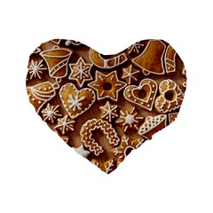 Christmas Cookies Bread Standard 16  Premium Flano Heart Shape Cushions
