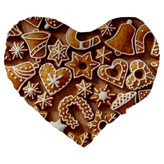 Christmas Cookies Bread Large 19  Premium Flano Heart Shape Cushions by AnjaniArt