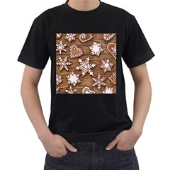 Christmas Cookies Men s T Shirt (black) (two Sided)