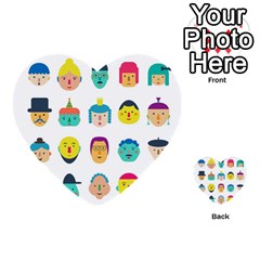 Face People Man Girl Male Female Young Old Kit Multi Purpose Cards (heart)  by AnjaniArt