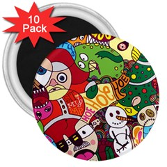 Face Mask Cartoons Stash Holiday 3  Magnets (10 Pack)