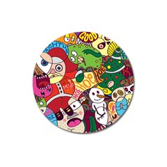 Face Mask Cartoons Stash Holiday Magnet 3  (round)