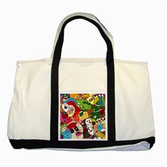 Face Mask Cartoons Stash Holiday Two Tone Tote Bag by AnjaniArt