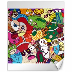 Face Mask Cartoons Stash Holiday Canvas 11  X 14   by AnjaniArt