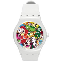 Face Mask Cartoons Stash Holiday Round Plastic Sport Watch (m)