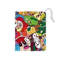 Face Mask Cartoons Stash Holiday Drawstring Pouches (medium)  by AnjaniArt