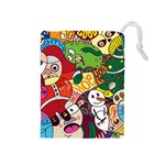 Face Mask Cartoons Stash Holiday Drawstring Pouches (Medium)  Front