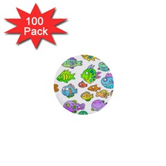 Fishes Col Fishing Fish 1  Mini Buttons (100 Pack)  by AnjaniArt
