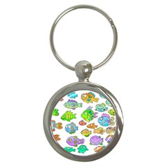 Fishes Col Fishing Fish Key Chains (round)  by AnjaniArt