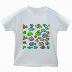 Fishes Col Fishing Fish Kids White T Shirts by AnjaniArt