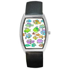 Fishes Col Fishing Fish Barrel Style Metal Watch by AnjaniArt