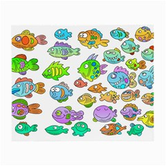 Fishes Col Fishing Fish Small Glasses Cloth (2-side) by AnjaniArt