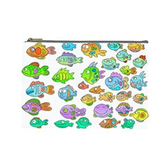 Fishes Col Fishing Fish Cosmetic Bag (large)  by AnjaniArt