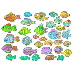 Fishes Col Fishing Fish Birthday Cake 3d Greeting Card (7x5) by AnjaniArt