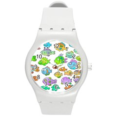 Fishes Col Fishing Fish Round Plastic Sport Watch (m)