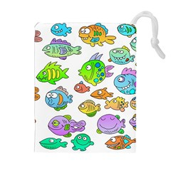 Fishes Col Fishing Fish Drawstring Pouches (extra Large) by AnjaniArt