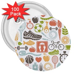 Health Habits Attitudes Hispanic Studied Sport 3  Buttons (100 Pack)