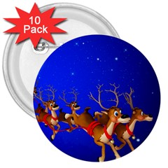 Holidays Christmas Deer Santa Claus Horns 3  Buttons (10 Pack)