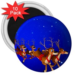 Holidays Christmas Deer Santa Claus Horns 3  Magnets (10 Pack)  by AnjaniArt