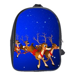 Holidays Christmas Deer Santa Claus Horns School Bags(large)  by AnjaniArt