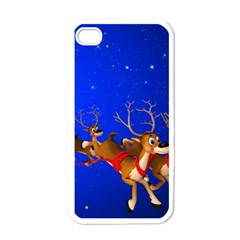 Holidays Christmas Deer Santa Claus Horns Apple Iphone 4 Case (white)