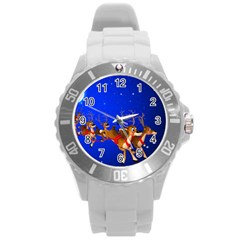 Holidays Christmas Deer Santa Claus Horns Round Plastic Sport Watch (l)