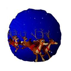 Holidays Christmas Deer Santa Claus Horns Standard 15  Premium Round Cushions by AnjaniArt