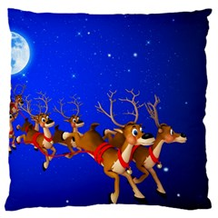 Holidays Christmas Deer Santa Claus Horns Large Flano Cushion Case (one Side)