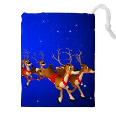 Holidays Christmas Deer Santa Claus Horns Drawstring Pouches (xxl) by AnjaniArt