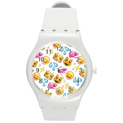 King Cat Smile Water Love Christmast Round Plastic Sport Watch (m) by AnjaniArt