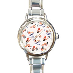 Olympics Swimming Sports Round Italian Charm Watch by AnjaniArt