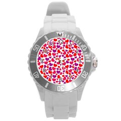 Love Pattern Wallpaper Round Plastic Sport Watch (l)