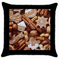 Nuts Cookies Christmas Throw Pillow Case (black)