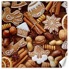 Nuts Cookies Christmas Canvas 12  X 12   by AnjaniArt