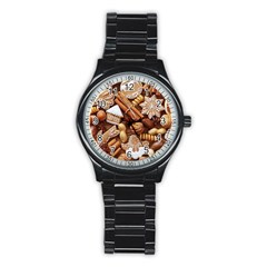 Nuts Cookies Christmas Stainless Steel Round Watch
