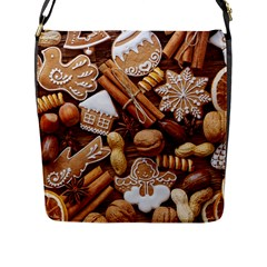 Nuts Cookies Christmas Flap Messenger Bag (l)  by AnjaniArt