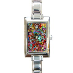 Moster Mask Rectangle Italian Charm Watch by AnjaniArt