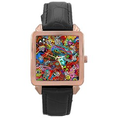 Moster Mask Rose Gold Leather Watch  by AnjaniArt