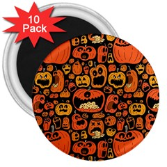 Pumpkin Helloween 3  Magnets (10 Pack)