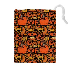 Pumpkin Helloween Drawstring Pouches (extra Large) by AnjaniArt