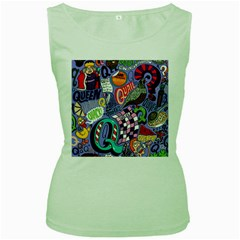 Q Pattern Women s Green Tank Top by AnjaniArt