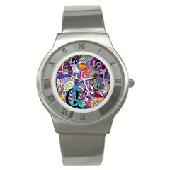 Q Pattern Stainless Steel Watch