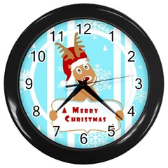 Santa Claus Reindeer Christmas Wall Clocks (black) by AnjaniArt