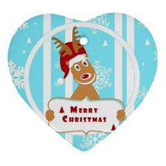 Santa Claus Reindeer Christmas Heart Ornament (2 Sides) by AnjaniArt