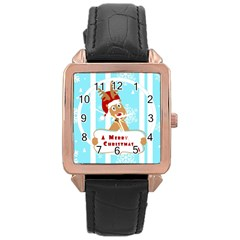 Santa Claus Reindeer Christmas Rose Gold Leather Watch  by AnjaniArt