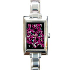 Pink Fantasy Rectangle Italian Charm Watch by Valentinaart